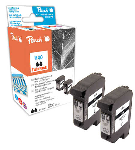 Peach  Twin Pack Print-head black, compatible with ID-Fabricant: No. 40, 51640AE HP DesignJet 350 C