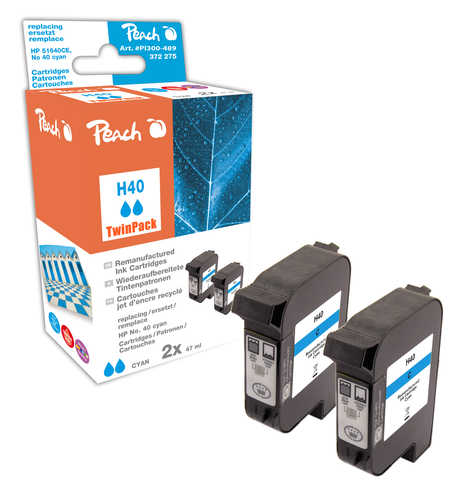 Peach  Twin Pack Print-head cyan, compatible with ID-Fabricant: No. 40, 51640CE HP Color Copier 210