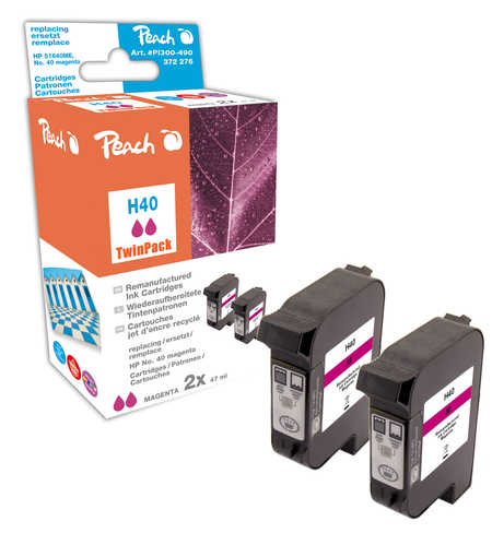 Peach  Twin Pack Print-head magenta, compatible with ID-Fabricant: No. 40, 51640ME HP Color Copier 210