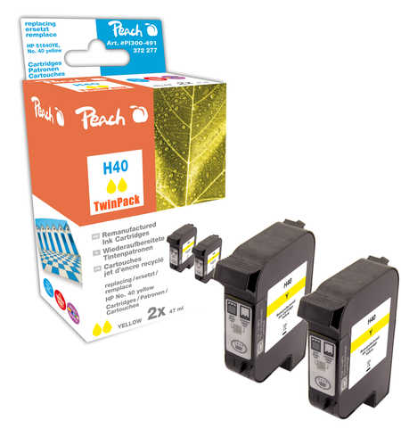 Peach  Twin Pack Print-head yellow, compatible with ID-Fabricant: No. 40, 51640YE HP Color Copier 210