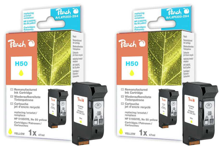 Peach  Twin Pack Print-head yellow, compatible with ID-Fabricant: No. 50, 51650YE HP DesignJet 250 C