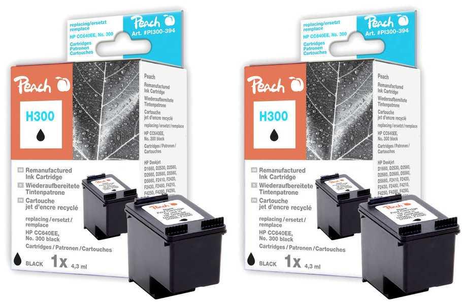 Peach  Double Pack tête d'impression noir, compatible avec ID-Fabricant: No. 300, CC640EE HP DeskJet F 4435