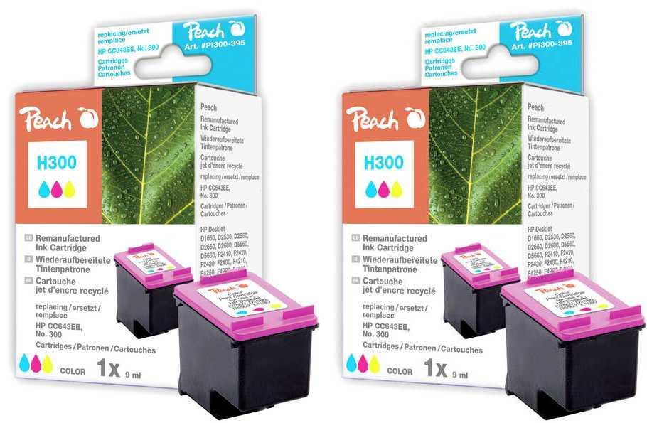 Peach  Double Pack tête d'impression couleur, compatible avec ID-Fabricant: No. 300, CC643EE HP DeskJet F 4435