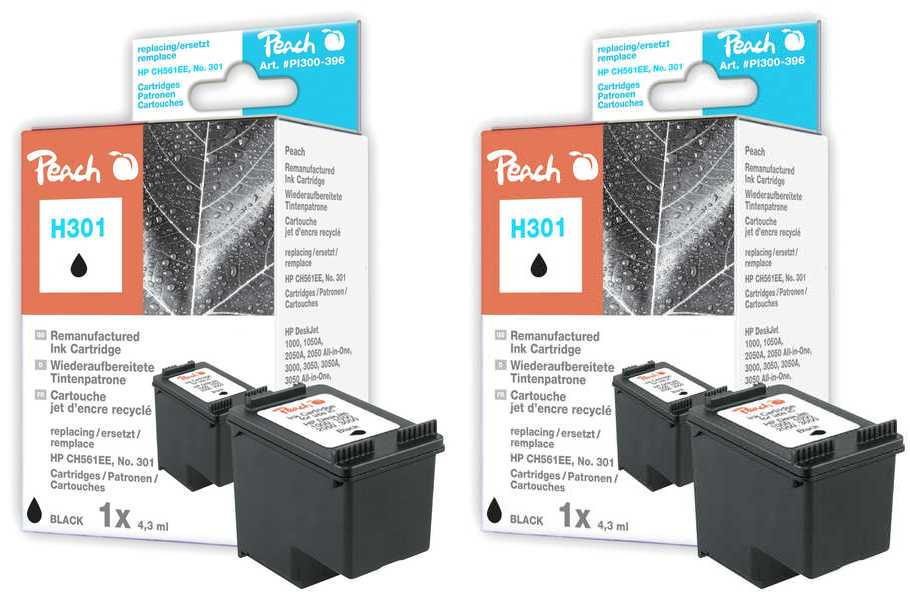 Peach  Twin Pack Print-head black, compatible with ID-Fabricant: No. 301, CH561EE HP DeskJet 2050