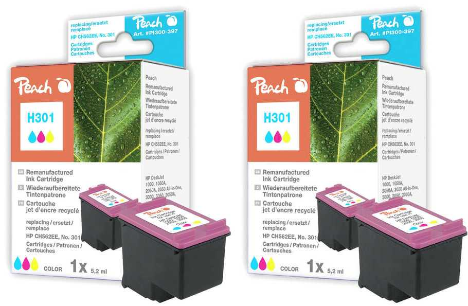 Peach  Twin Pack Print-head color, compatible with ID-Fabricant: No. 301, CH562EE HP DeskJet 2050