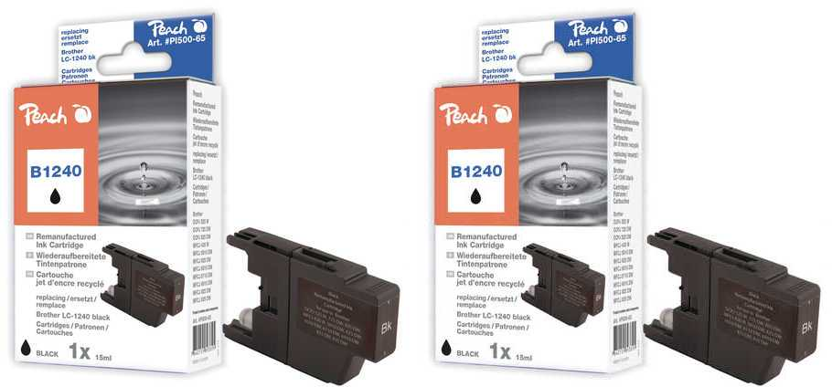 Peach  Twin Pack Ink Cartridge black, compatible with ID-Fabricant: LC-1240 bk Brother MFCJ 6510 DW