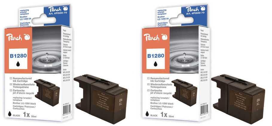 Peach  Twin Pack XL cartouche d'encre noire, compatible avec ID-Fabricant: LC-1280, LC-1280 bk Brother MFCJ 6510 DW