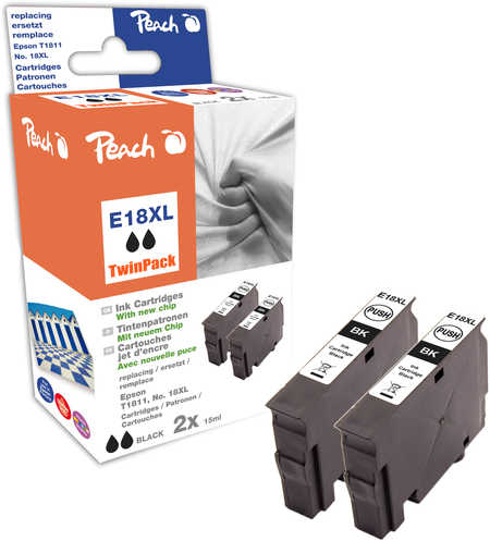 Peach  Twin Pack Ink Cartridge black, compatible with ID-Fabricant: No. 18XL bk, T1811 Epson Expression Home XP-302