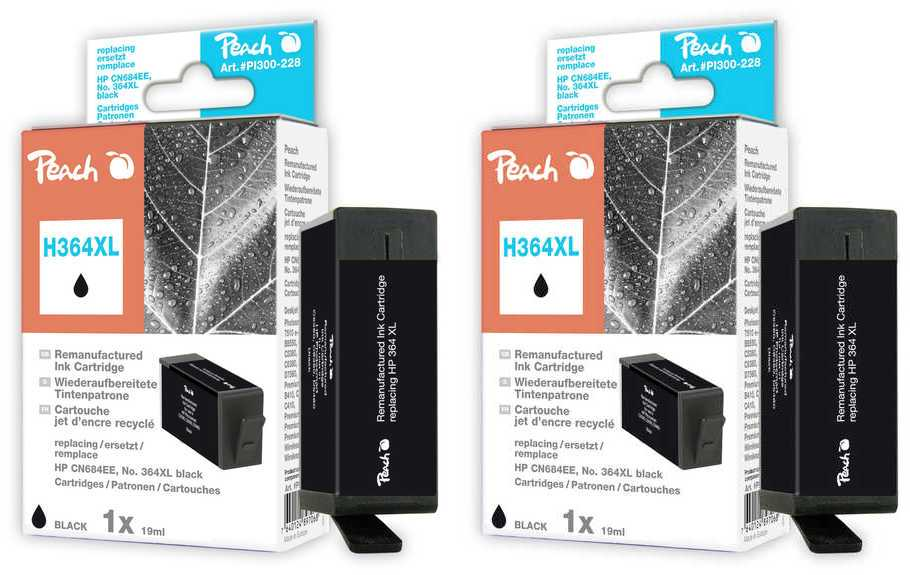 Peach  Twin Pack Ink Cartridge black compatible with ID-Fabricant: No. 364XL, CN684EE HP PhotoSmart Premium C 410 Series
