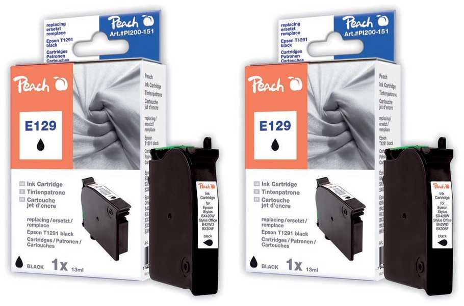 Peach  Twin Pack Ink Cartridge black, compatible with ID-Fabricant: T129, T1291 Epson Stylus SX 525 WD