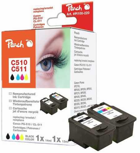 Peach  Multi Pack, compatible avec ID-Fabricant: PG-510, CL-511 Canon Pixma MP 240