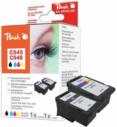 Peach  Multipack compatible avec ID-Fabricant: PG-545, CL-546 Canon Pixma MG 2455