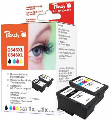 Peach  Multipack compatible avec ID-Fabricant: PG-545XL, CL-546XL Canon Pixma MG 2455