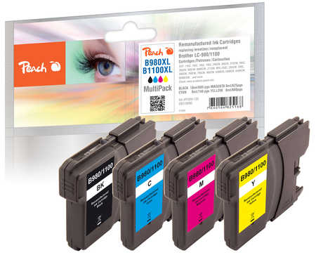 Peach  Multipack Reman, compatible avec ID-Fabricant: LC-1100, LC-980 Brother DCP-163 C