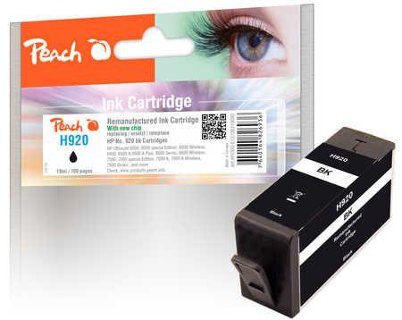 Peach  cartouche d'encre Cartridge noire compatible avec ID-Fabricant: No. 920 HP OfficeJet 6500 Wireless