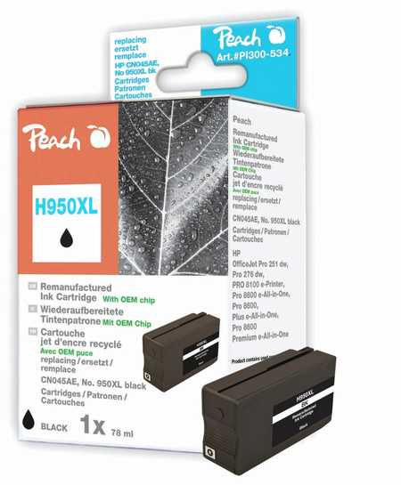 Peach  Ink Cartridge black HC compatible with ID-Fabricant: No. 950XL, CN045AE HP OfficeJet Pro 251 dw