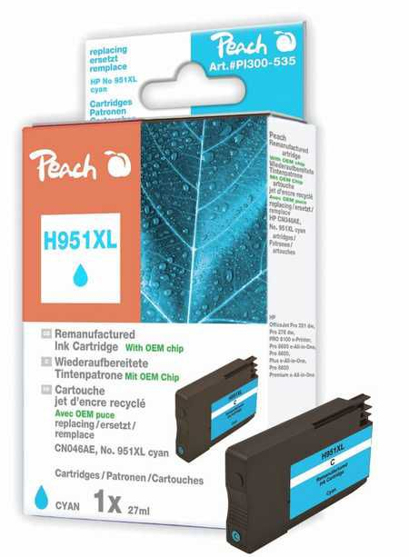 Peach  Ink Cartridge cyan HC compatible with ID-Fabricant: No. 951XL, CN046AE HP OfficeJet Pro 251 dw
