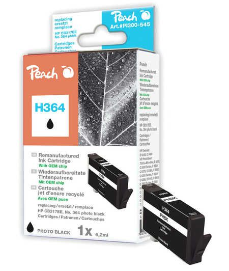 Peach  Ink Cartridge photo black compatible with ID-Fabricant: No. 364, CB317EE HP PhotoSmart Premium C 410 Series