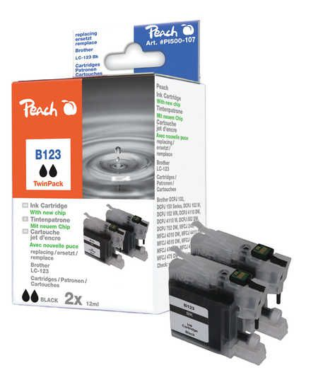 Peach  Twin Pack Ink Cartridge black, compatible with ID-Fabricant: LC-123 Brother MFCJ 4310 DW