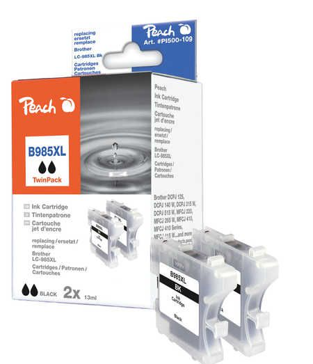 Peach  Twin Pack Ink Cartridge black, compatible with ID-Fabricant: LC-985bk Brother DCPJ 125