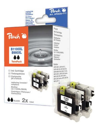 Peach  Twin Pack Ink Cartridge black, compatible with ID-Fabricant: LC-1100bk, LC-980bk Brother DCP-163 C