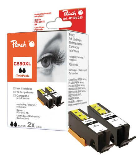 Peach  Twin Pack Ink Cartridge black compatible with ID-Fabricant: PGI-550, PGI-550PGBK XL Canon Pixma MX 725