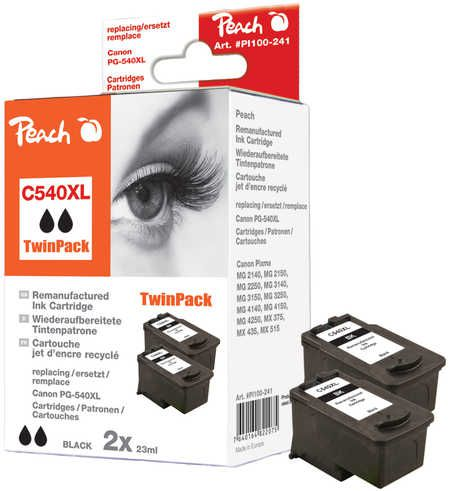 Peach  Twin Pack Ink Cartridge black compatible with ID-Fabricant: PG-540XL Canon Pixma MG 2250