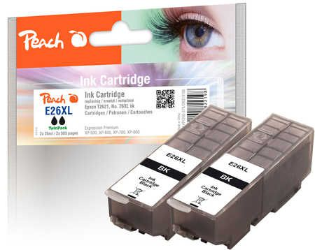 Peach  Twin Pack Ink Cartridge black, compatible with ID-Fabricant: No. 26XL bk, T262140 Epson Expression Premium XP-700