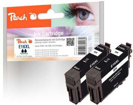 Peach  Twin Pack cartouche d'encre noire, compatible avec ID-Fabricant:  Epson WorkForce WF-2530 WF