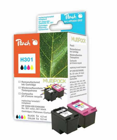 Peach  Multi Pack, compatible avec ID-Fabricant: No. 301 black, CH561EE, No. 301 color, CH562EE HP DeskJet 2050
