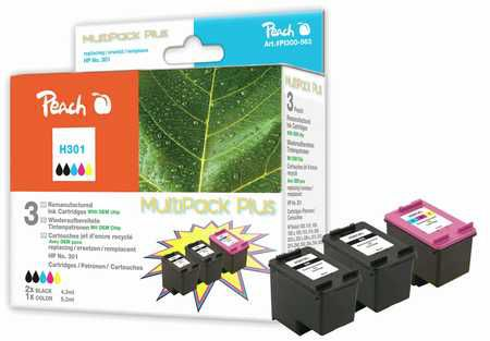 Peach  Multi Pack Plus, compatible with ID-Fabricant: No. 301 black, CH561EE, No. 301 color, CH562EE HP DeskJet 2050