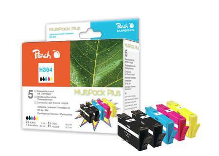 Peach Multipack Plus  avec puce compatible avec ID-Fabricant: No. 364 HP PhotoSmart C 5390