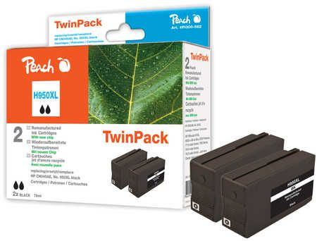 Peach  Twin Pack Ink Cartridge black HC compatible with ID-Fabricant: No. 950XL, CN045AE HP OfficeJet Pro 251 dw
