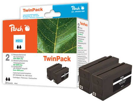 Peach  Twin Pack Ink Cartridge black compatible with ID-Fabricant: No. 950, CN049AE HP OfficeJet Pro 251 dw