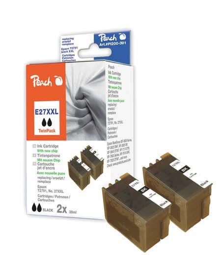 Peach  Twin Pack cartouche d'encre noire compatible avec ID-Fabricant: No. 27XXL, T2791 Epson WorkForce WF-7710 DWF