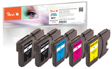 Peach Multipack Plus , rendement XL, compatible avec ID-Fabricant: LC-1100, LC-980 Brother DCP-163 C