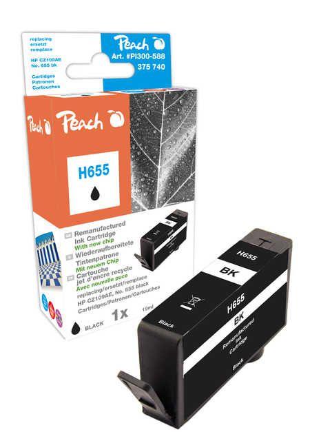 Peach Cartouche d'encre  noir, avec puce, compatible avec ID-Fabricant: No. 655, CZ109AE HP DeskJet Ink Advantage 4615