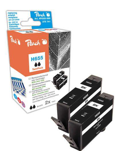 Peach  Twin Pack cartouche d'encre noire avec puce, compatible avec ID-Fabricant: No. 655, CZ109AE HP DeskJet Ink Advantage 4615