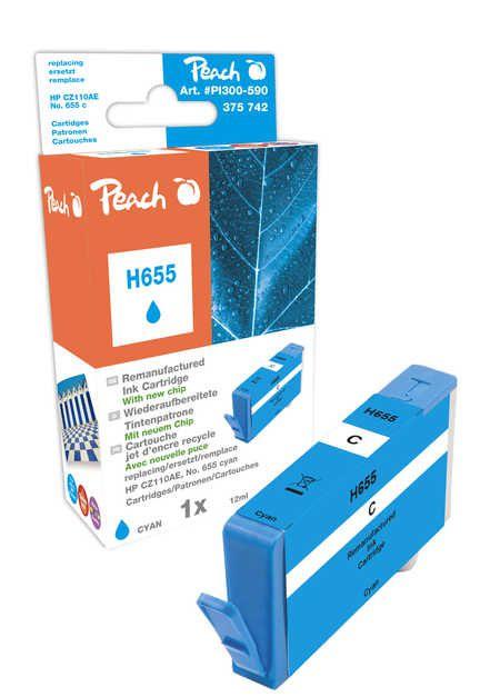 Peach Cartouche d'encre  cyan, avec puce, compatible avec ID-Fabricant: No. 655, CZ110AE HP DeskJet Ink Advantage 4615