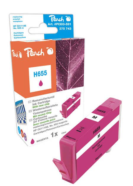 Peach Cartouche d'encre  magenta, avec puce, compatible avec ID-Fabricant: No. 655, CZ111AE HP DeskJet Ink Advantage 4615