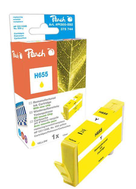 Peach Cartouche d'encre  jaune, avec puce, compatible avec ID-Fabricant: No. 655, CZ112AE HP DeskJet Ink Advantage 4615