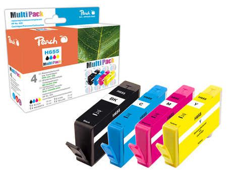Peach Multipack  avec puce, compatible avec ID-Fabricant: No. 655 series HP DeskJet Ink Advantage 4625