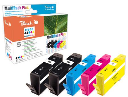 Peach Multipack Plus  avec puce compatible avec ID-Fabricant: No. 655 series HP DeskJet Ink Advantage 4625
