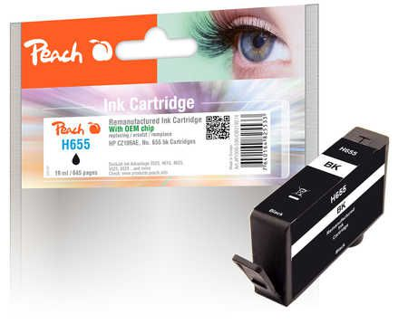 Peach  Ink Cartridge black compatible with ID-Fabricant: No. 655, CZ109AE HP DeskJet Ink Advantage 6525