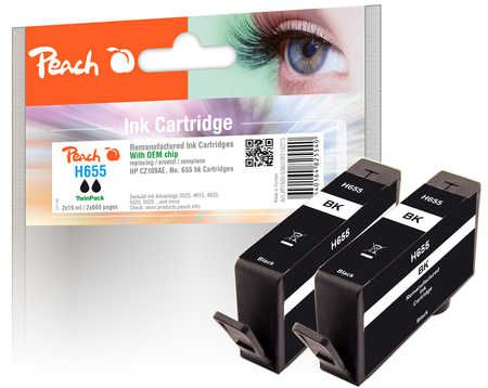 Peach  Twin Pack Ink Cartridge black compatible with ID-Fabricant: No. 655, CZ109AE HP DeskJet Ink Advantage 6525