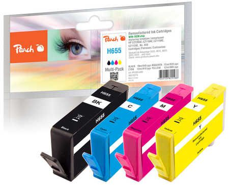 Peach  Multipack avec puce compatible avec ID-Fabricant: No. 655 series HP DeskJet Ink Advantage 4625