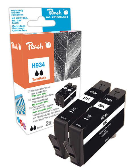 Peach  Twin Pack Ink Cartridge black compatible with ID-Fabricant: No. 934, C2P19AE HP OfficeJet Pro 6230