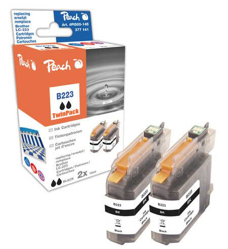 Peach  Twin Pack Ink Cartridge black, compatible with ID-Fabricant: LC-223BK Brother MFCJ 480 DW