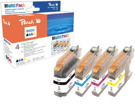 Peach  Multipack avec puce, compatible avec ID-Fabricant: LC-223 series Brother MFCJ 4425 DW