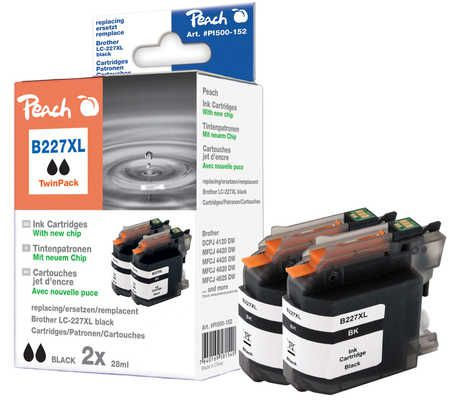 Peach  Twin Pack cartouche d'encre noire, compatible avec ID-Fabricant: LC-227XLBK Brother MFCJ 4425 DW